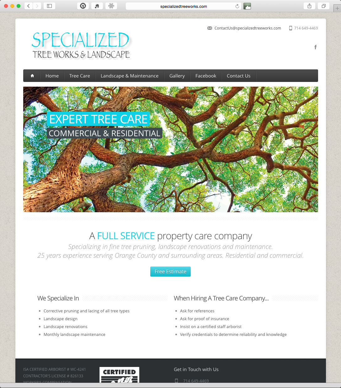 Website Design & Development – Specialized Tree Works