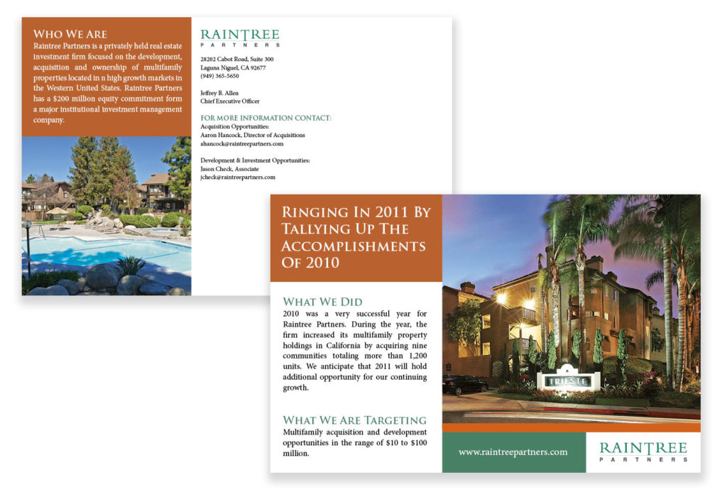 Brochure Design & Production for Brower, Miller & Cole – Raintree Partners